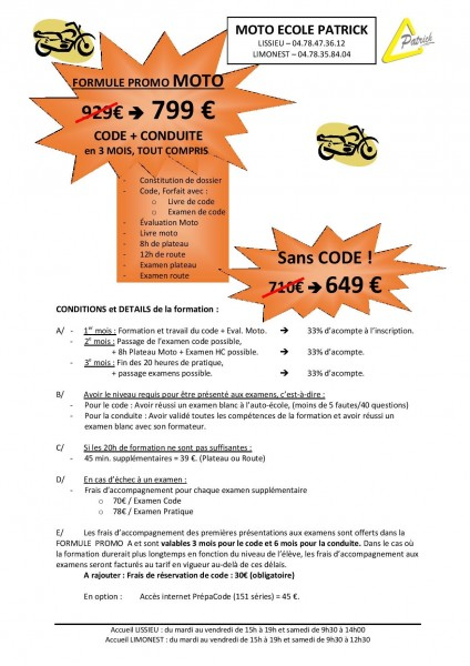 Promo Moto stage rapide A1 A2
